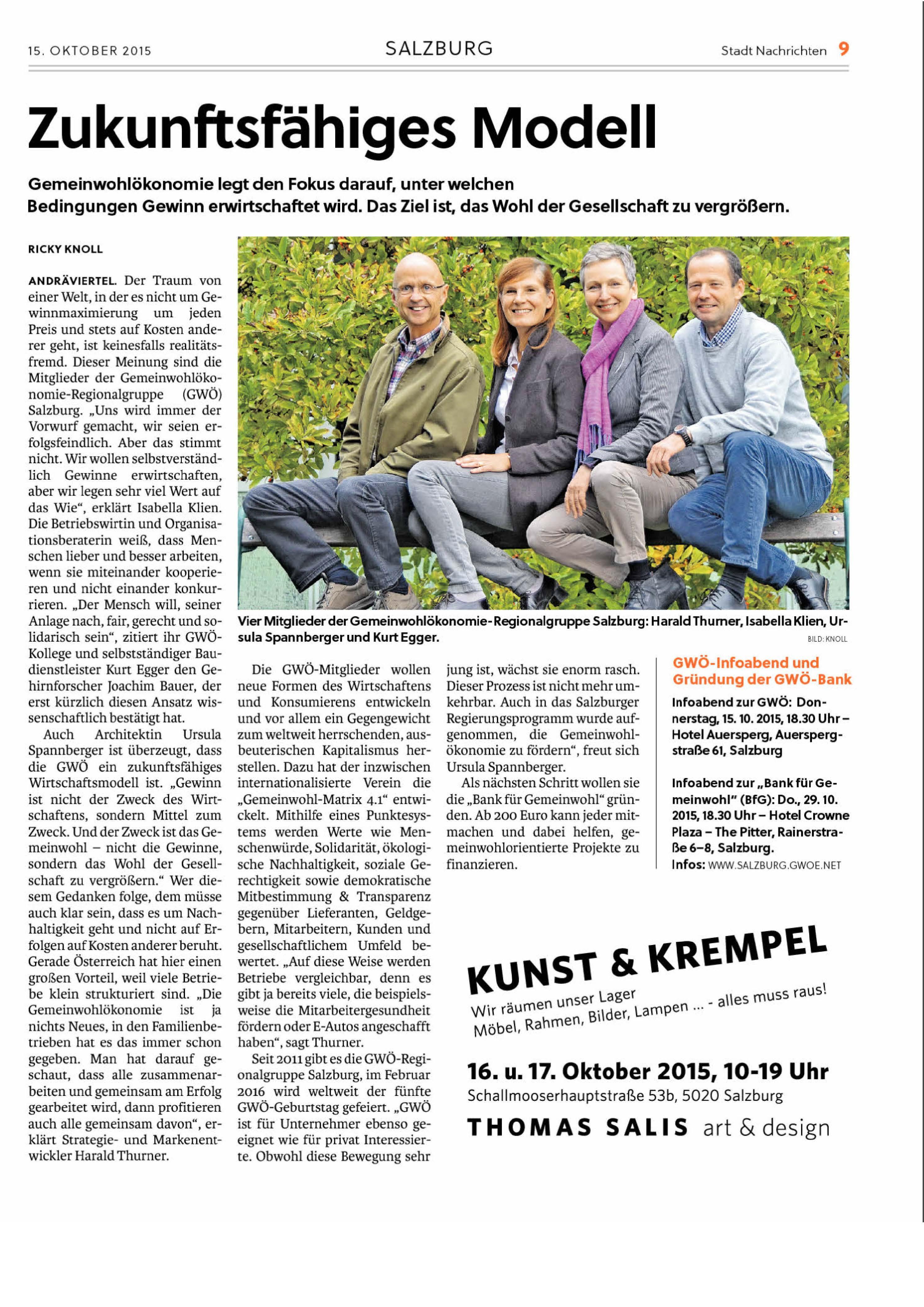 Gemeinwohlökonomie in den Stadt Nachrichten – RAUM.WERT