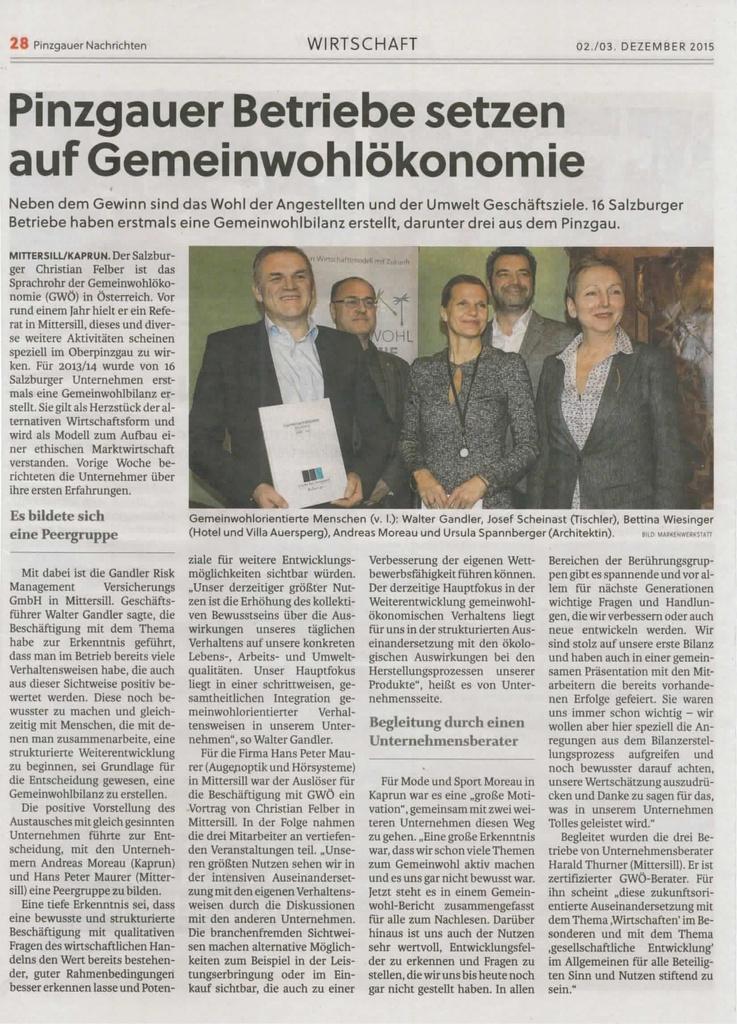 Pinzgauer Betriebe setzen auf Gemeinwohlökonomie