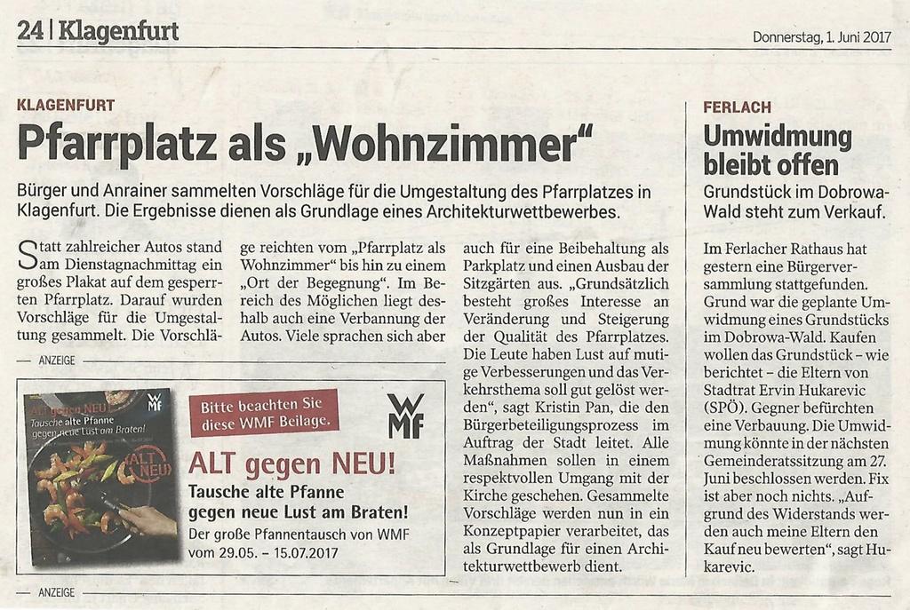2017-06_Kleine Zeitung_Pfarrplatz Klagenfurt